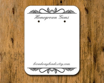 Custom Earring Cards Jewelry DIsplay Ornate Print Personalized 00111a