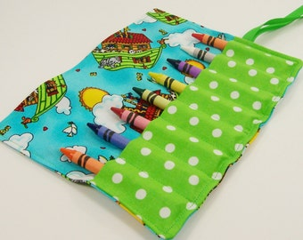 Crayon Roll Up - Noah's Ark Crayon Roll - Stocking Stuffer - Kids
