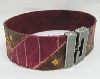 Leather Bracelet/Cuff - Mod Mountains