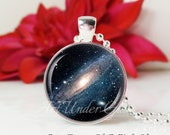SALE-Round Medium Glass Bubble Pendant Necklace- Andromeda Galaxy