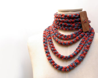 Knit Infinity Scarf Necklace, Loop Scarlette Neckwarmer - Coral Orange Red and Denim Blue with wood button - Handmade