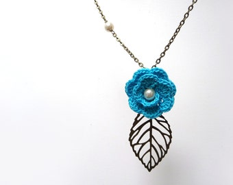 Crochet Flower Necklace with Brass Chain and Leaf - Turquoise cotton flower with pearls - Choose the color