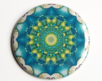 Fractal Mandala Pocket Mirror in Blue, Green, Turquoise, and White - Perfect for Teacher Gifts, Wedding Favors, Thank You Gifts