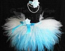 Blue White Snowflake Tutu, Snow Queen, Custom Sewn 3 Tiered Pixie Tutu, Girls Tutu up to 5T