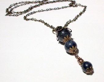 Vintage Style Blue Lapis Lazuli Pendant on Bronze Chain 28 Inches Long