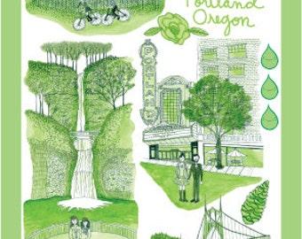 Portland Oregon toile postcard