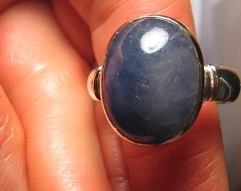 Sapphire ..  Sterling Silver and  14 kt Gold .... Ring ... Size 12  or size X 1/2 for my UK Friends ...  e670