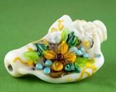 Sea Shell Floral, Handmade Lampwork Shell Shell