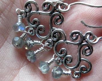 Petite chandelier earrings, labradorite & sterling silver
