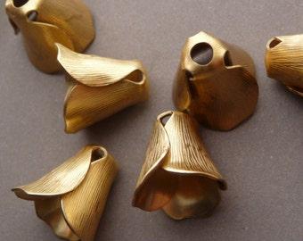 4 Flower Bud Bead Caps in Brass