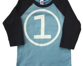 First Birthday Happy 1st Party Boys Sky Blue and Navy Long Sleeve Raglan T-Shirt