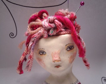 Little Knitty. Original Clay Art Doll