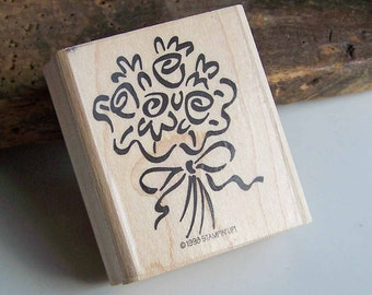Rubber Stamp, Bouquet Bunch, Flower Stamp, Wood Mounted Stamp, Scrapbooking Supplies, Card Making Supplies, Etsy, Etsy Supplies