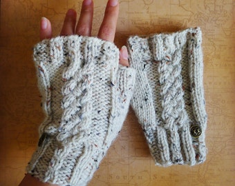 Aislyn Cabled Fingerless Gloves - cream, ivory, white mitts, brass button - vegan