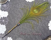 WALK IN BEAUTY Peacock Feather Cloisonne Quill Pen -