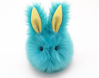 Blue Easter Bunny Stuffed Animal Cute Plush Toy Bunny Kawaii Plushie Breeze the Aqua Blue Bunny Rabbit Faux Fur Toy Large 6x10 Inches