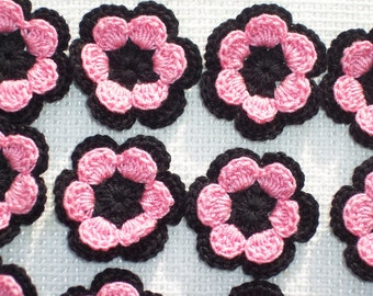 12 black and pink cotton thread crochet applique flowers/roses --  1571