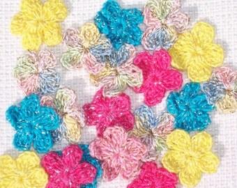 20  cotton thread crochet applique flowers -- 1867