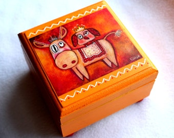 Small Jewelry Box, Donkey Art, Owl Bird Art,  Mexican, Day of the Dead, Wood Trinket Keepsake Box, Wooden Orange Red Pink, Whimsical