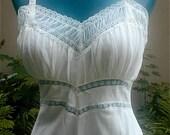 Vintage Blue Swan White Full Length Nylon Slip  - Crisp White Nylon Sheer Pleated Yoke and Lace Details New Old Stock Unworn