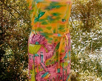 Exotic Neon Dress - Vintage 60s Sleeveless Shift Made in Japan - Cotton - Fully Lined Size 5 Petite
