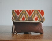 IKAT POUCH. Orange Yellow Pouch. Brown Leather Pouch. Tribal Clutch. - gracedesign