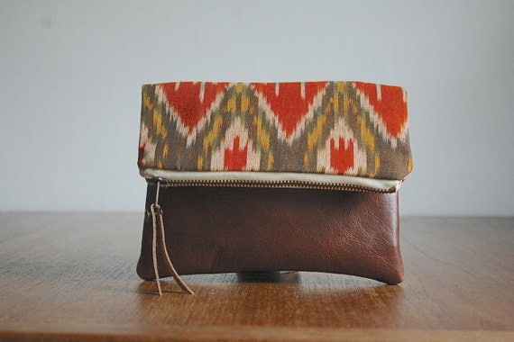 The Belinda Pouch ///// Ikat Pouch. Orange Yellow Pouch. Brown Leather Pouch. Tribal Clutch.