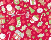 FABRIC SALE, CLOSEOUT, Home for the Holidays Santa Toss Main Red