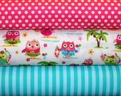 3 Fat Quarters, Fabric, Owl Fabric, Hula Owls White Tropical, Kiss Dots and Stripes