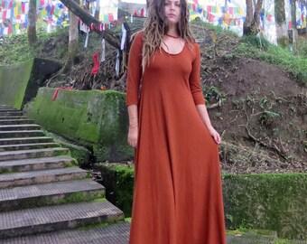 ORGANIC Ritual Babydoll Long Dress (light hemp/organic cotton knit) - organic dress