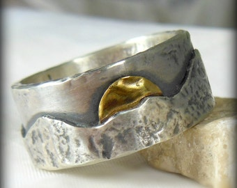 Mountain range silver and yellow gold wedding band, Men's Ring, unisex jewelry, custom made