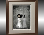 Gray Melancholy Girl Art Print --- The Seamstress New Version