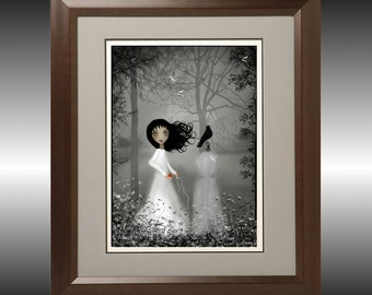 Gray Melancholy Girl Art Print --- The Seamstress New Version