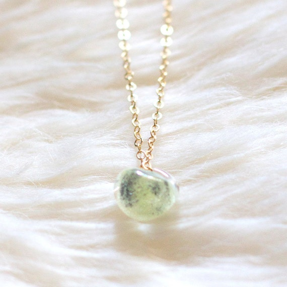 kerry in green - gold and glass necklace by elephantine