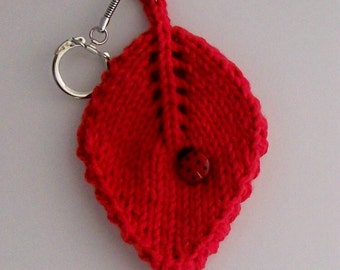 Get Lucky Ladybug Ladybug on a Leaf Keychain Hand Knit Red Cotton Knit Fabric Stocking Stuffer Gift