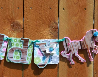 Giddy Up Cowgirl Birthday Party Banner