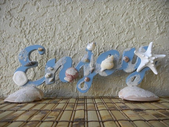 ENJOY Blue Wood Sign with Starfish, Seashells, Beach Sand, Sea Cookie