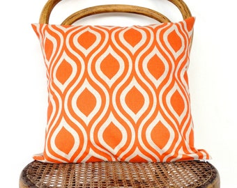 Orange and Natural Retro Print Teardrop Cushion Cover