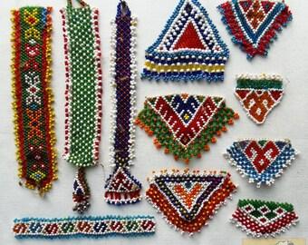 Vintage Tribal Talisman:  Kuchi Beaded Remnant Amulet/Patch Set #25