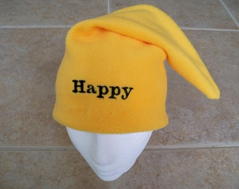 HAPPY the Dwarf Hat, Name Embroidered, Child Size