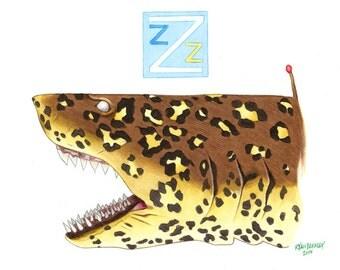 Jaguar Shark Art Print - Ryan Berkley - Life Aquatic - Pop Culture Art - Limited Edition - Wes Anderson - Team Zissou - Pop Culture Art