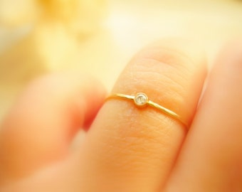 Dainty Diamond Solitaire Ring Engagement Ring Promise Ring Pinky Ring Stacking Ring 14K Yellow Gold - made to order in your finger size