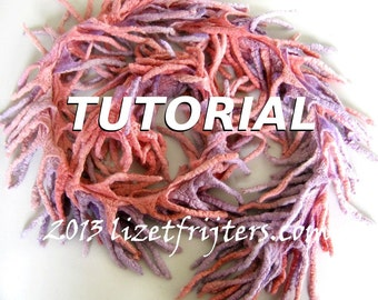 Nuno Felted Boa Scarf  Tutorial Felting Pattern - Wet Felting Lesson Nuno Felt Instructions Learn how to Felt - Instant Download
