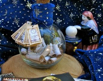Gypsy Fortune Teller Bottle, Vintage look, Tarot, Celestial, Crystal Ball