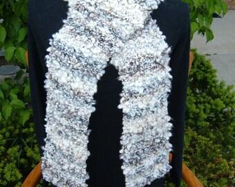 "Super Sale -Granite Knitted Garter Stitch Scarf 83"" x 8"" FREE SHIPPING"