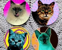 Pop Art Kitties -- Psychedelic Warhol-Style Cats Mousepad Coaster Set