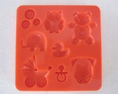baby owl onesie elephant bear silicone rubber mold - 8 designs - resin, polymer clay, mod melts, candy, utee, plaster, wax, soap, epoxy clay