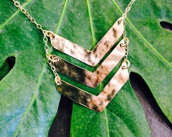 Modern triple chevron necklace 14kt gf-medium