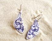 Purple Victorian Drop Earrings, Dangle Earrings, Porcelain Earrings - sterling silver earwires