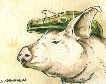 A Dapper Pig in a hat - ACEO signed PRINT